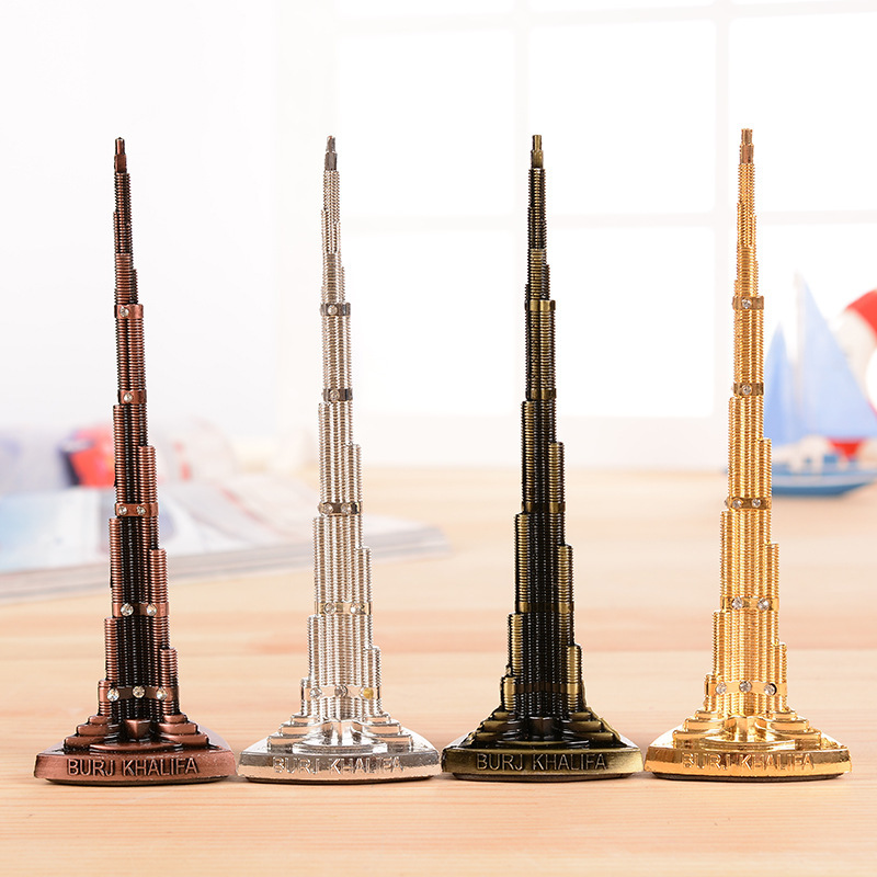 Svijet Burj Khalifa Tower Model s Word Brončana kula Figurica Minijature Home Decoration pokloni polu-dragocjeni Vintage obrt