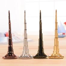 World Burj Khalifa Tower Model with Word Bronze Tower Figurine * Miniatures Home Decoration gifts semi-precious Vintage craft
