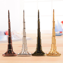 World Burj Khalifa Tower Model with Word Bronze Tower Figurine Miniatures Home Decoration gifts semi-precious Vintage craft