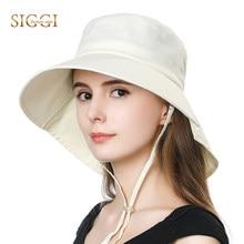 d8cc257ab032d SIGGI Summer Spring Beach Women Sun Hats Foldable Uv Cap Cotton Chin Cord  Wide Brim Breathable