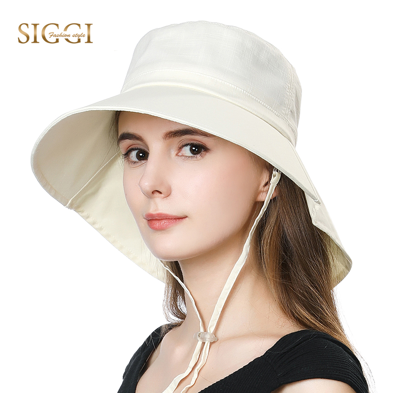 SIGGI Summer Spring Beach Women Sun Hats Foldable Uv Cap Cotton Chin Cord Wide Brim Breathable Collapsible For Female 1005
