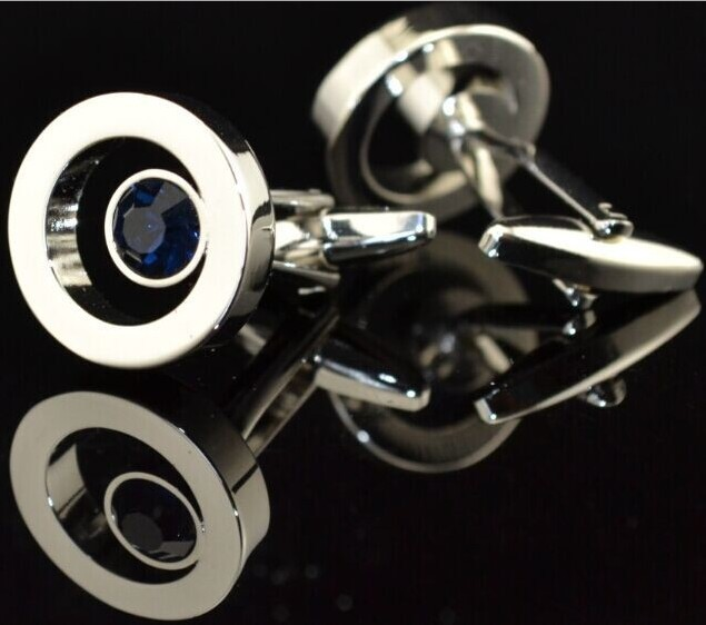 Free shipping Crystal Cufflinks 4 colors option simple round design hotsale copper material cufflinks whoelsale&retail