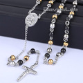 4/6/8mm Mens Chain Sliver Gold Tone Stainless Steel Bead Chain Crown Rosary Jesus Christ Cross Pendant Long Necklacce LKN378