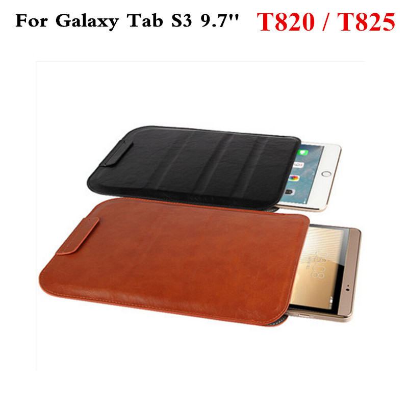 For Samsung Galaxy Tab S3 9.7'' Tablet  PU Leather Case Sleeve Bag Cover SM-T820 SM-T825 9.7 inch Protective Pouch Premium Cases luxury flip stand case for samsung galaxy tab 3 10 1 p5200 p5210 p5220 tablet 10 1 inch pu leather protective cover for tab3