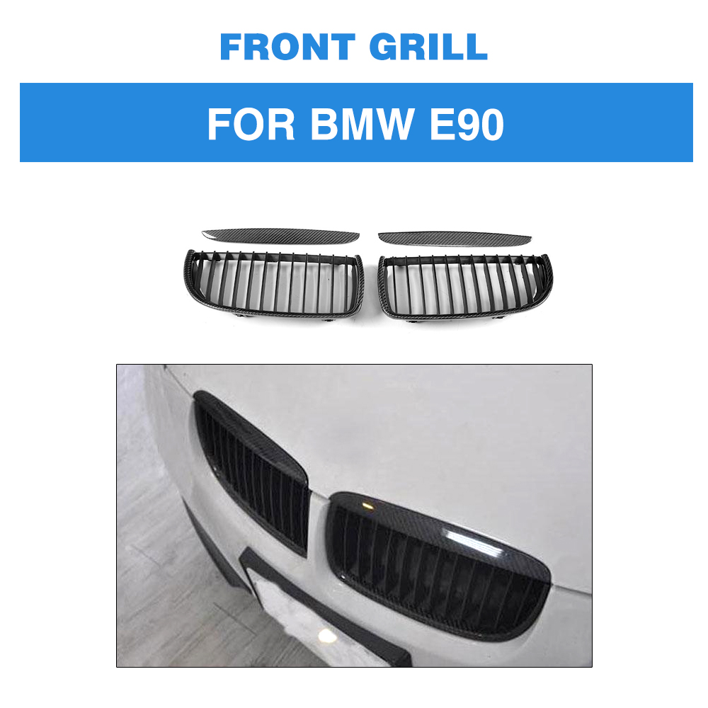 3 Series Front Mesh Grille Carbon Fiber Front Bumper Grill for BMW E90 Sedan 4 Door 2005 2008 320i 323i 325i 328i 330i 335i