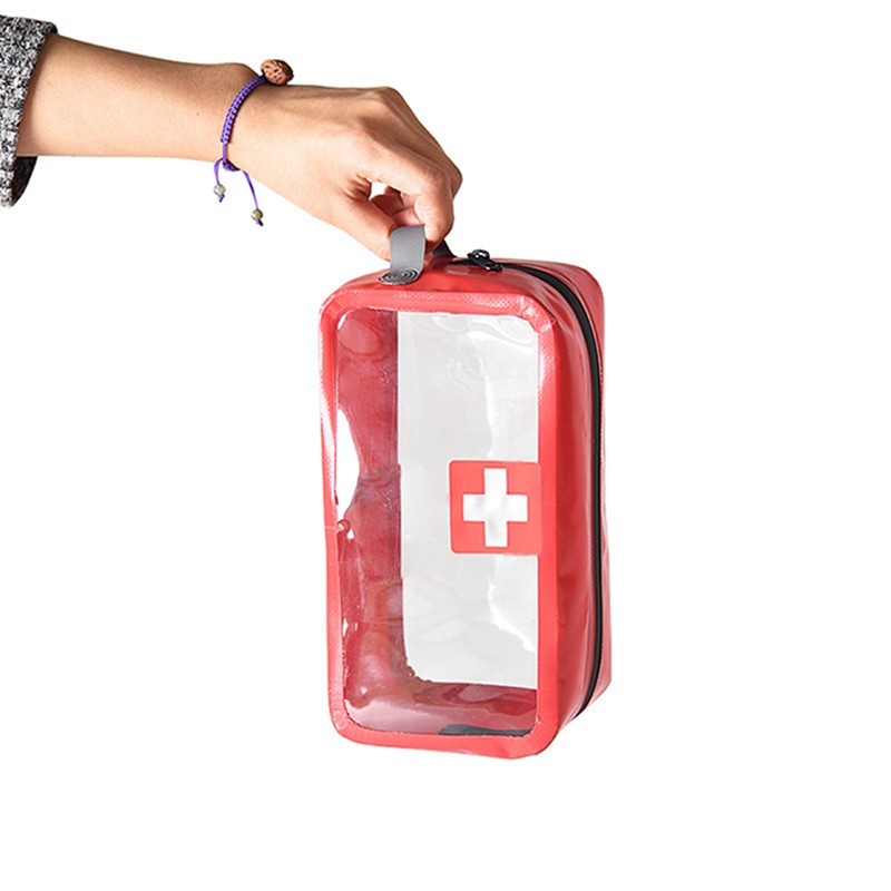 Small Medical Bags Portable Camping Transparent Waterproof Survival Medical Storage Bag First Aid Kit 17x7x12cm Hiking Supplies Camping & Hiking
