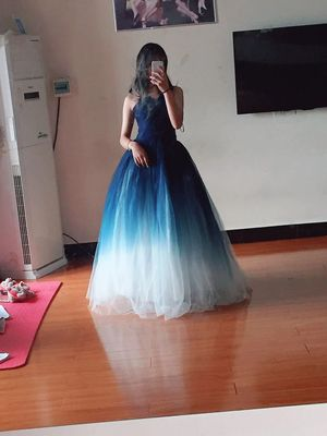 Walk Beside You Navy Blue White Evening Dresses Contrast Color A-line Tulle Strapless V-neck Long Floor Length Formal Prom Gowns