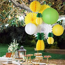 10pcs Summer Party Decoration Set Honeycomb Pineapple Centerpiece Paper Lantern Tissue Fans Luau Beach Hawaiian Supplies