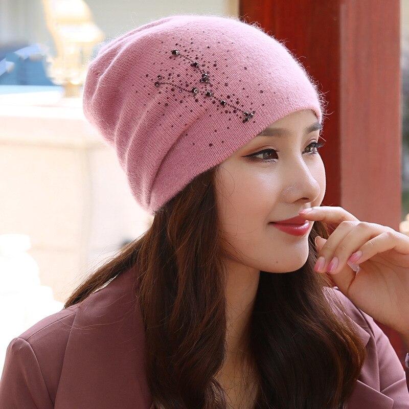 Beanie Women Winter Angora Knit Hat Warm Rhinestone Headwear  Soft Casual Slouch Stretchy Outdoor Ski Accessory (9)
