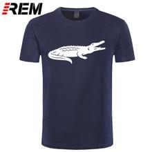 REM Новое поступление, летняя модная повседневная футболка с коротким рукавом, принт с животными, брендовая одежда из хлопка, Мужская футболка высокого качества