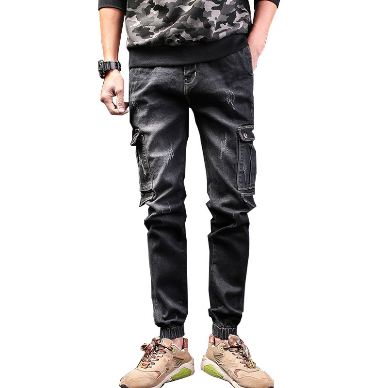 MORUANCLE New Men's Casual Jeans Pants With Multi Pockets Fashion Denim Trousers For Male Elastic Bottom Size 28-40 moruancle men s baggy cargo jeans pants loose straight tactical denim trousers for big and tall size 29 46 side zipper pockets