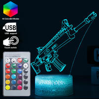 16 Color Remote Fortnit Gun Game Scar llama 3D Night Light Alpaca Toy Luce Lamp Luminaria Abajur LED Touch Table Lampen Kid Gift