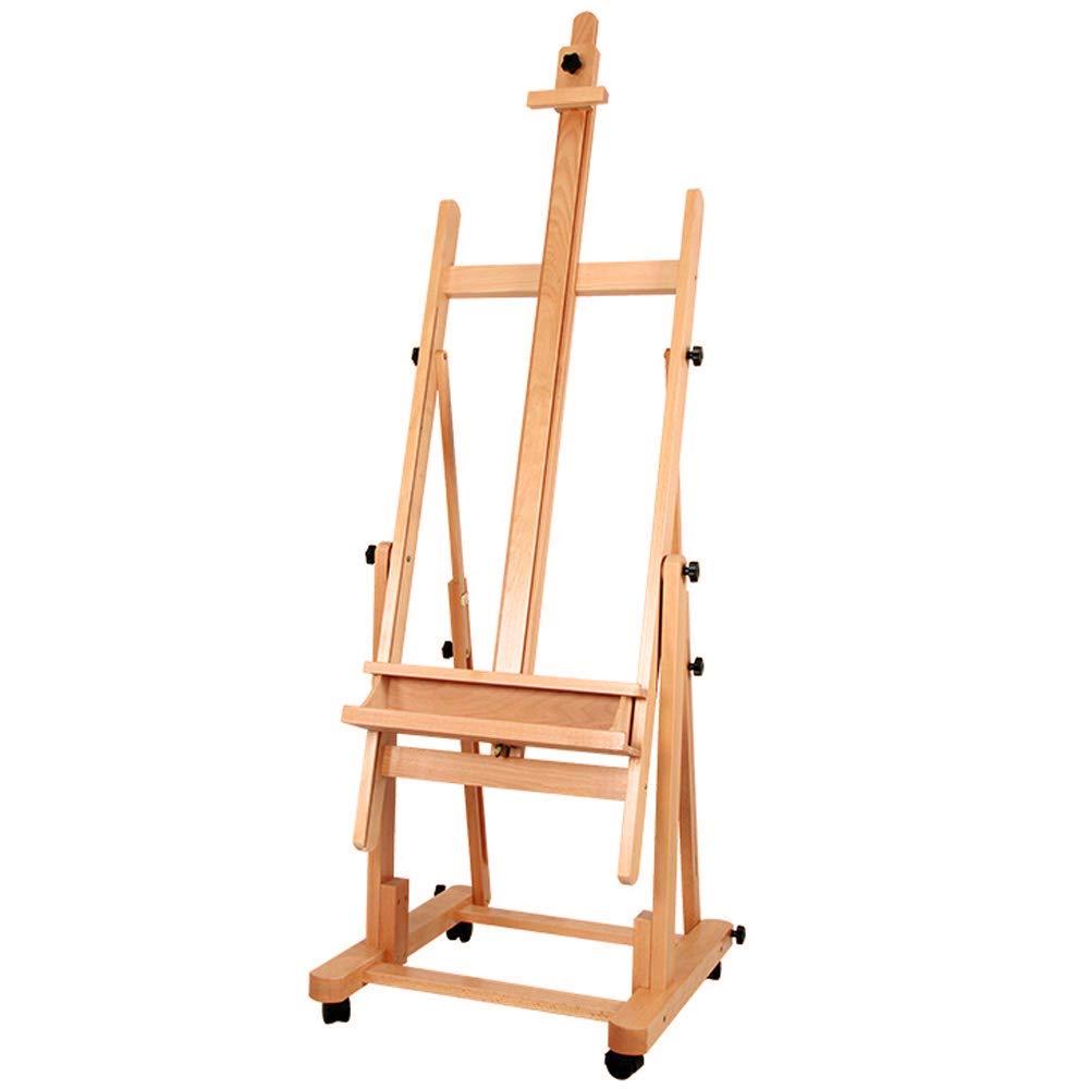 Chevalet de Studio en bois réglable de luxe à très grand cadre en H avec roulettes et inclinaison chevalet de dessin à croquis pour fournitures d'art d'artiste