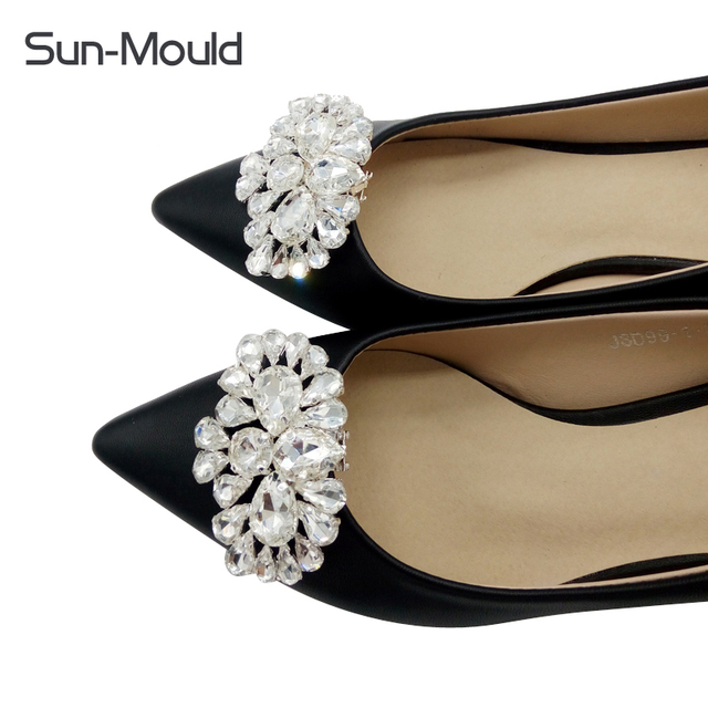 Daily shoes flower charms bridal high-heel pumps accessories crystal  diamond shoe clips Fashion wedding e9d2f7f23237