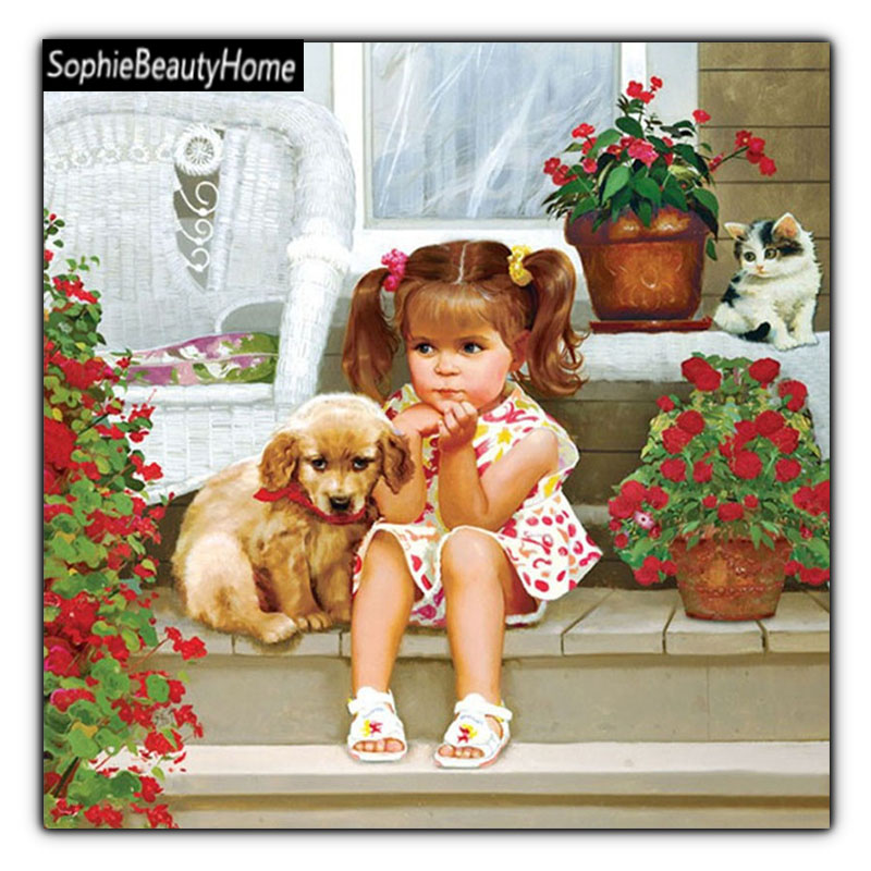 DIY Diamond Images Embroidered Kids and Dogs 5D Diamond Cross Stitch 3D Diamond Mosaic Home Decor Gift