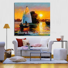 Pure Handpainted Wall Stickers Beautiful Sea View Oil Painting On Canvas Sunset Scenery painting artwork for wall Decoration