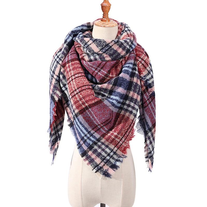 2019 New Women's Winter Triangle Scarf Plaid Warm Cashmere Scarves Female Shawls Pashmina Lady Bandana Wraps Blanket