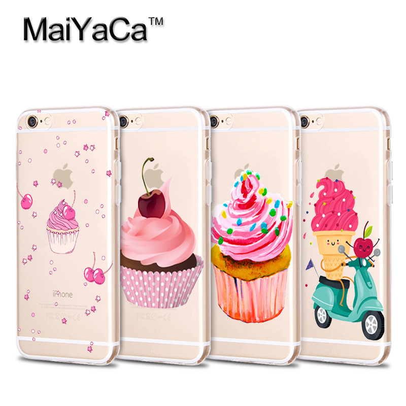 MaiYaCa Sweet Colorful Cherry Icecream Pattern Soft Transparent TPU Phone Case Accessories Cover For iPhone 4s 5s 6s 7 7plus