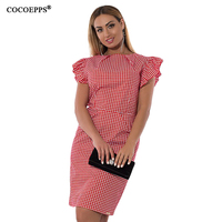 2017 Summer Plus Size Women Dress Large Size Plaid Dresses Fashion Ruffles Dress For Wedding Party