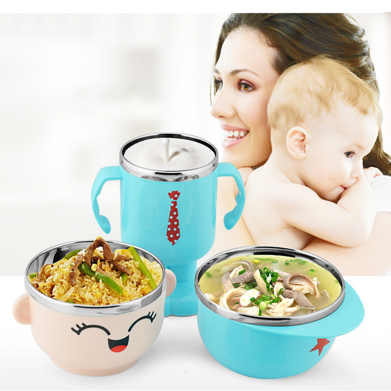 304 Stainless Steel Baby Silicone Bowl Baby Feeding Food Tray Food Tableware Set Insulation Bowl A