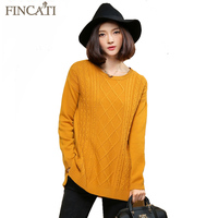 European Vintage Twisted flower Women 2018 Autumn Winter 100% Pure Cashmere Casual All Match Loose Split Hem Sweater Pullover