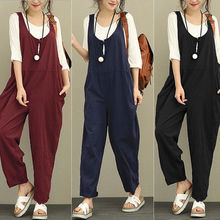 6fce1dd043 Thefound Womens Casual Pants Cotton Linen Jumpsuit Loose Ladies Harem  Trousers Romper