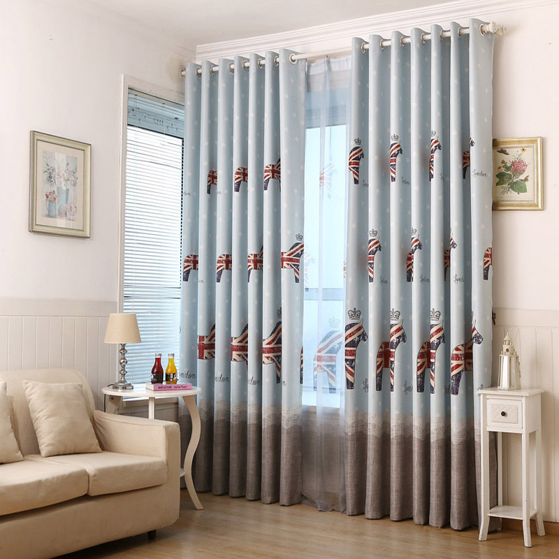 bandera britnica patrn caballo nios habitacin cortinas de tela sombra vivero azul cortinas sheer cortinas de