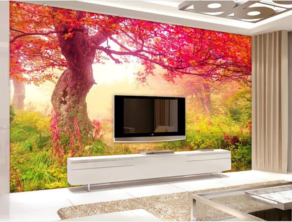 Sogno autunno alberi di acero 3d carta da parati moderna for Carta parati soggiorno