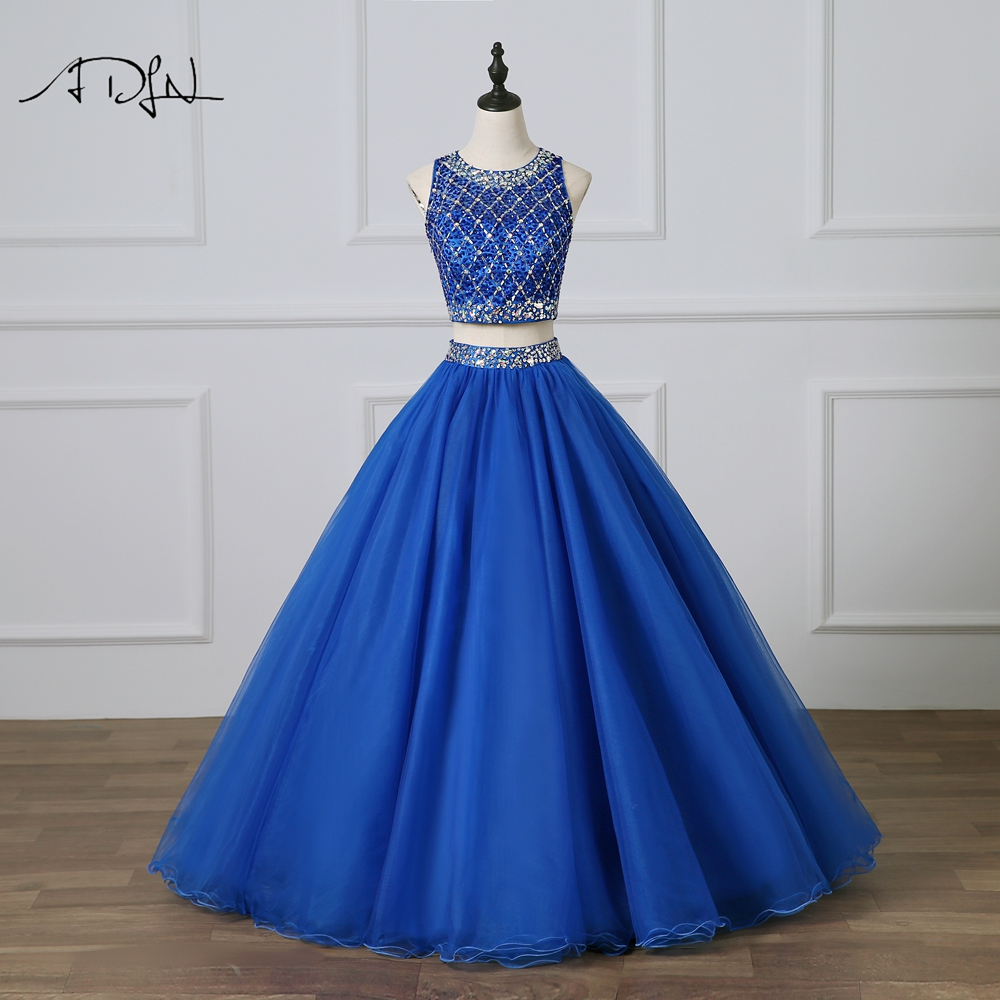 ADLN Royal Blue Quinceanera Dresses with Crystal Two Piece Masquerade Gown Delicate Beaded Prom Dress Sweet 16 Dress Debutante