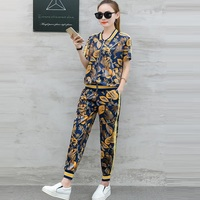 Tracksuit Women Casual Pant Suit 2019 New Summer Two Piece Set Women short sleeved Zipper Jacket And Pencil Pants Suits Sets