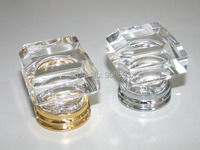 20PCS/LOT FREE SHIPPING 33MM CLEAR SQUARE CRYSTAL KNOBS ON A CHROME BRASS BASE