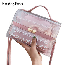 цены Brand Design small ladies messenger bags transparent leather shoulder bags women crossbody Composite handbags