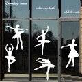 Silueta de la música de baile de ballet y danza parrilla arte pegatinas entrenamiento
