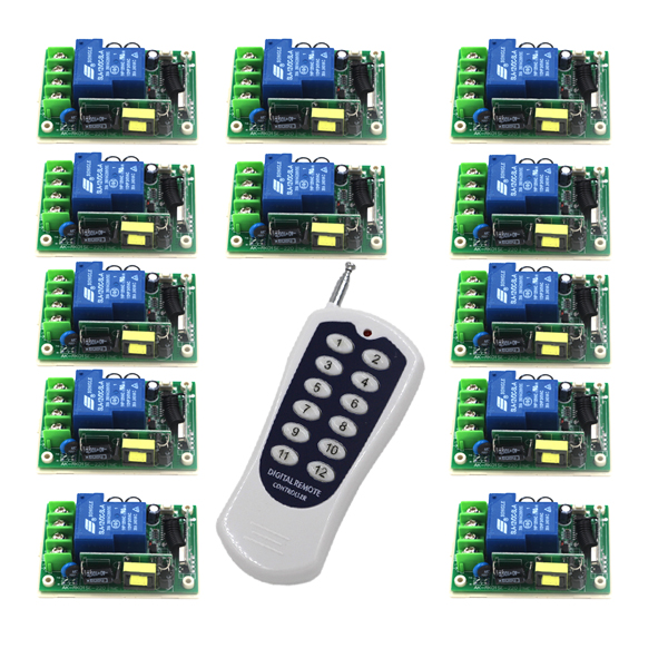 Free Shipping Best Price Wide Range Voltage 85V~250V 30A 1CH RF Wireless Remote Control System 1 Remote &12 Receiver 4327 factory price free shipping dc12v 4ch rf wireless remote control switches system 1 receiver