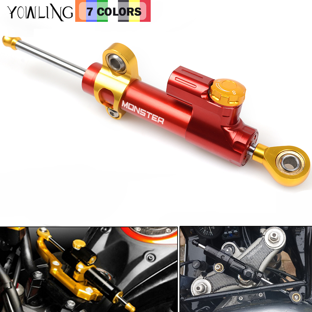 Motorcycle CNC Aluminium Steering Stabilizer Damper Reversed Safety Control For DUCATI Monster 1100 1100S 695 696 796 2009-2016