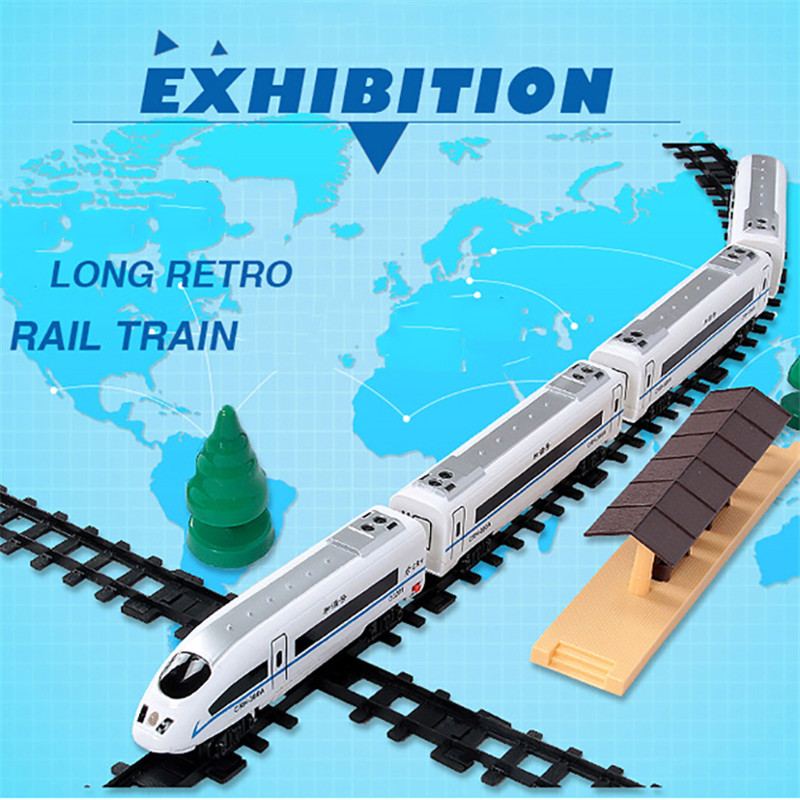 Simulating Electric High speed Railway Train Diecasts Toy Vehicles Retro Trains Track Model Educational Toys For Boys 1718
