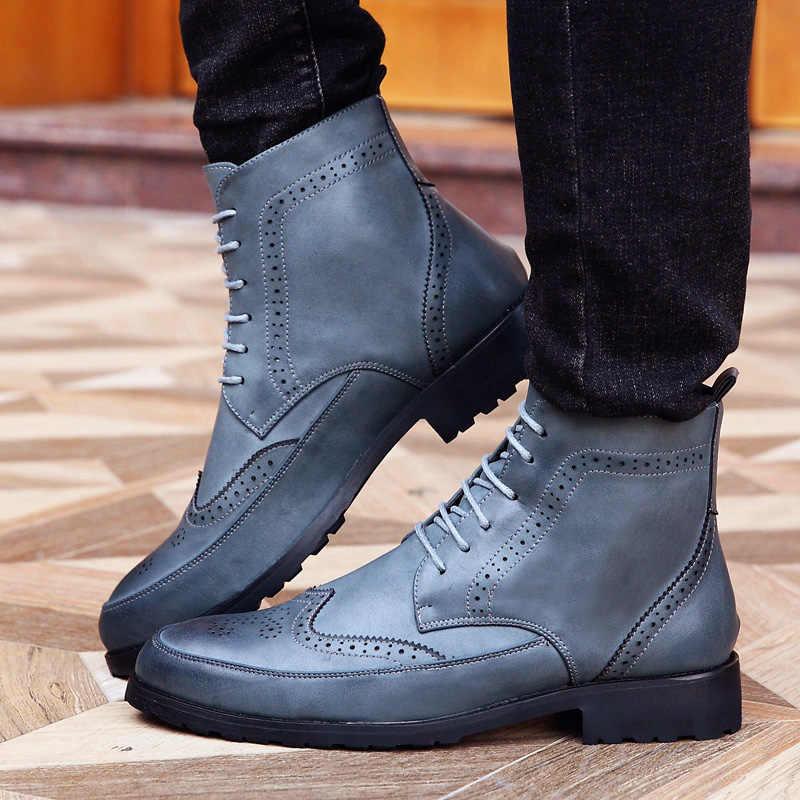 2017 İlkbahar/kış erkek Chelsea Boots, İngiliz tarzı moda yarım çizmeler, siyah/kahverengi Brogues yumuşak deri rahat ayakkabılar Martin