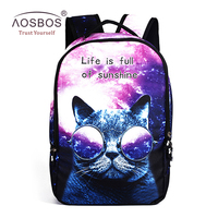 Women Polyester Stars Galaxy Cat Backpacks Casual Men Print Zipper Shoulder Bags High Quality Patchwork Student