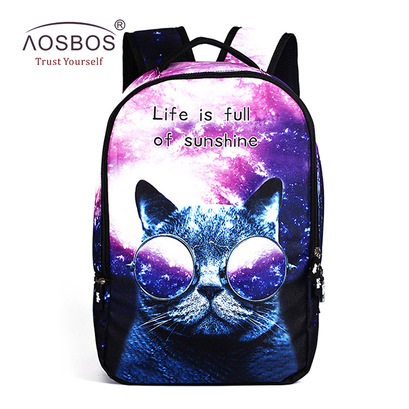 Women Polyester Stars Galaxy Cat Backpacks Casual Men Print Zipper Shoulder Bags High Quality Patchwork Student Backpack Mochila