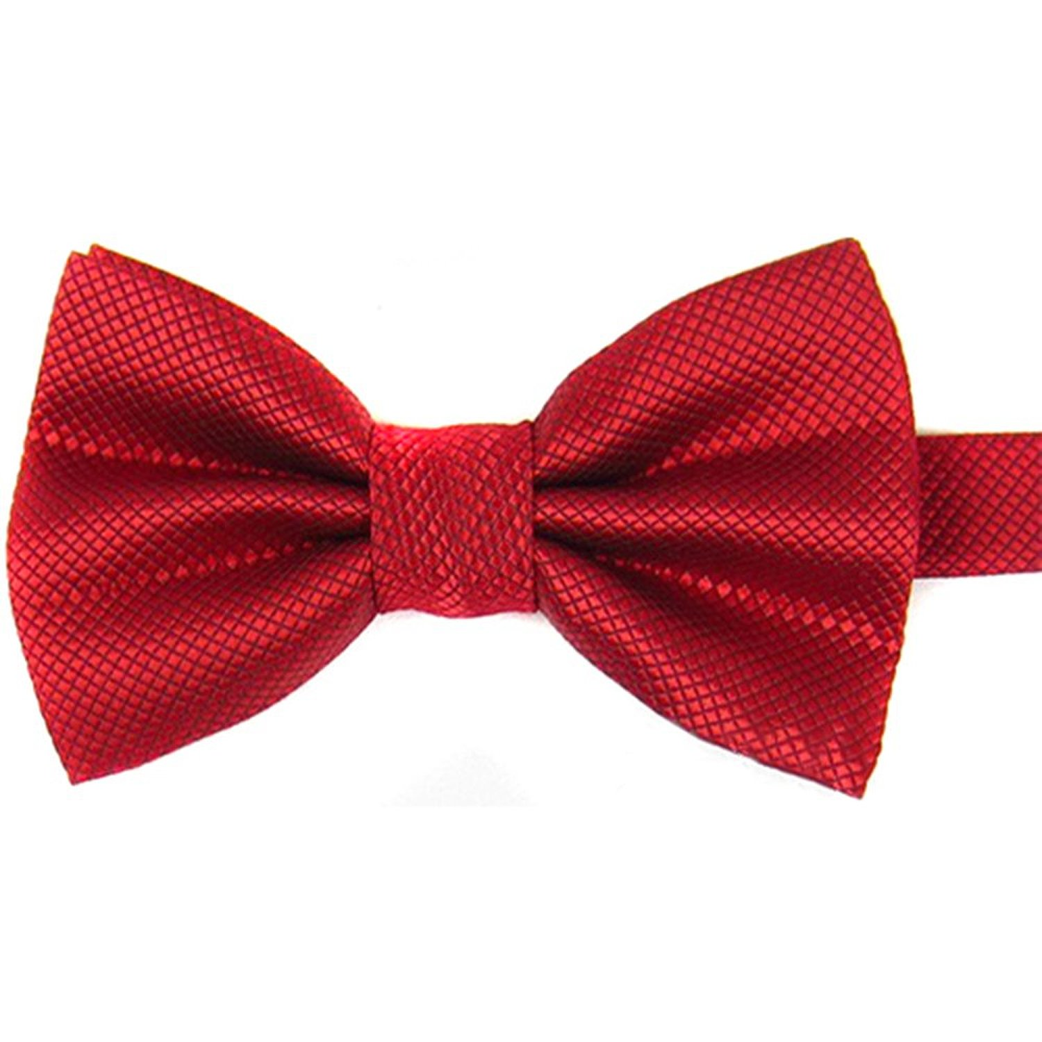 ᗑ】Men\'s Plain Polyester Pre Tied Wedding Bow Tie (red) - a60