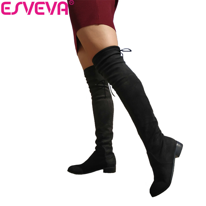 ESVEVA 2018 Over The Knee Boots Square Med Heel Women Boots Sexy Ladies Lace Up Stretch Fabric Fashion Boots Black Size 34-43 esveva 2017 western style flock women boots over the knee boots winter square high heel ladies lace up fashion boots size 34 43