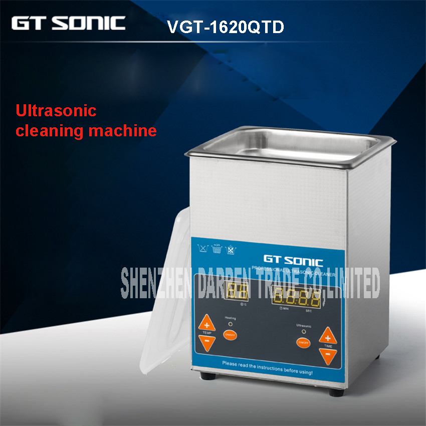 ФОТО VGT-1620QTD 2L Digital Display Ultrasonic Cleaner Stainless Steel Timer Heating Setting Bath Cleaning Jewelry Watch Glasses 100W