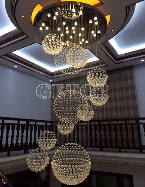 ZX Luxury Modern Crystal Chandelier Large Hall LED Pendant Lamp Creative Staircase Light Villa Penthouse Crystal Ball Light