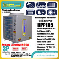 3P air source heat pump is suitable for 15~21sqm swimming pool, it select titanium condenser which fight chlorine in water