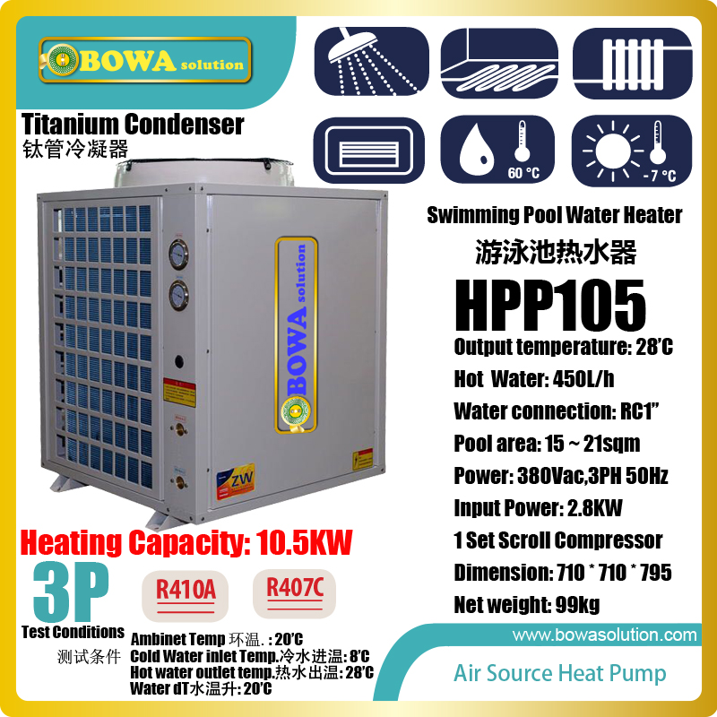 3P air source heat pump is suitable for 15~21sqm swimming pool, it select titanium condenser which fight chlorine in water 11kw heating capacity r410a to water and 4 5mpa working pressure plate heat exchanger is used in r410a heat pump air conditioner