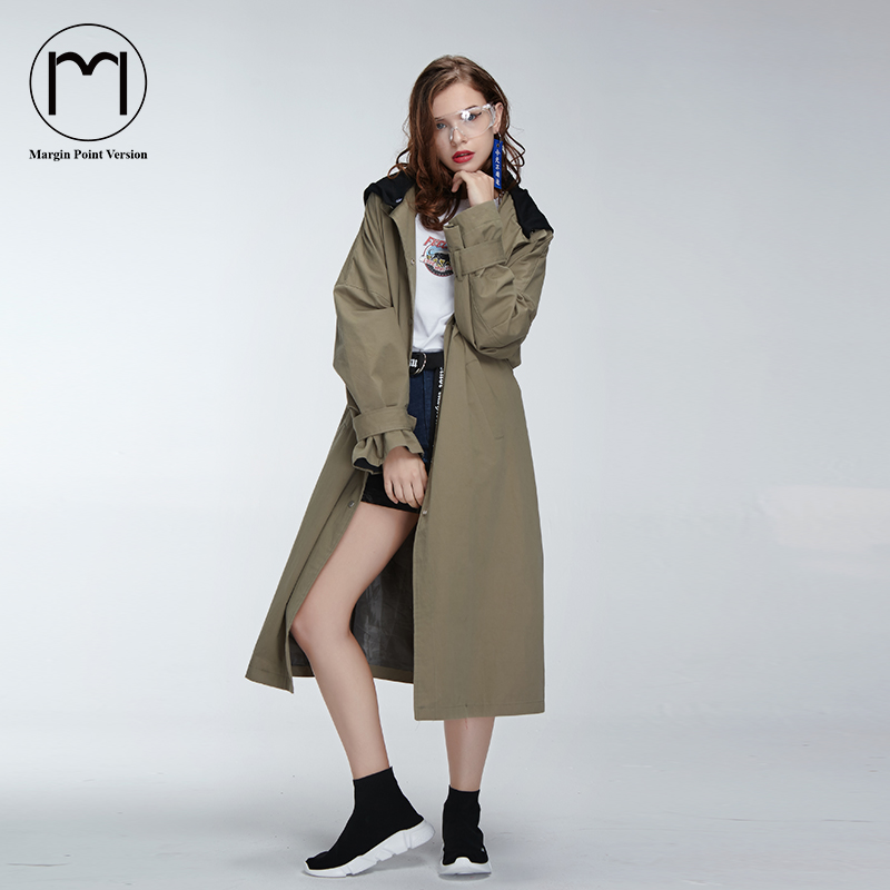 Margin 2017 New High Street Streetwear Women Girls Street Long Trench Coat Ladies Casual Back Print Hooded Long Coats