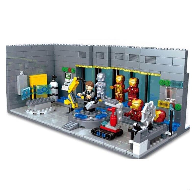 цена на Iron Man Machine Malibu Underground Base Station Marvel Avengers Super Heroes Building Block Brick Toy Compatible with Legoings