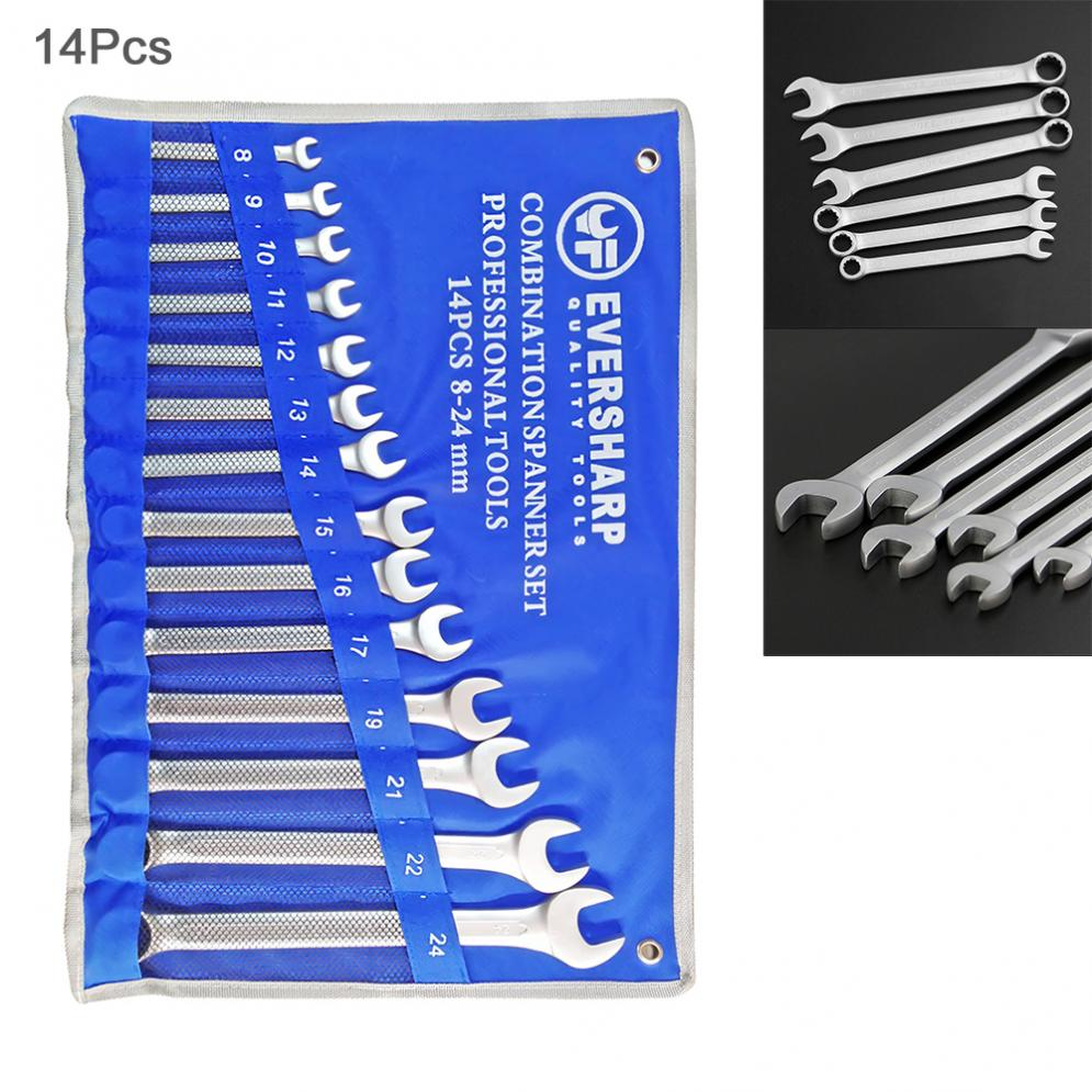 14pcs/lot 8mm-24mm Combination Spanner Set Professional Ratchet Wrench Tool With Cloth Bag For Home / Office / Construction Site