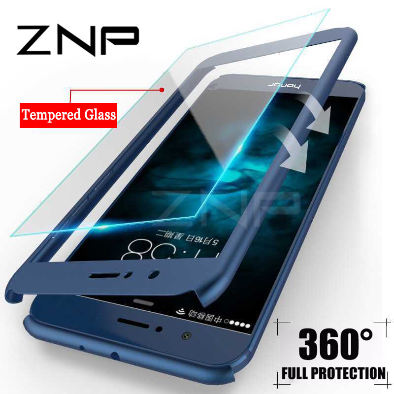 ZNP 360 Degree Protection Full Cover Phone Case For Huawei P10 Lite P9 Plus Mate 10 Shockproof Cover For Honor 9 Lite Case Glass