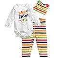 Estilo de moda bebé 3 unids (Mameluco de manga larga + hat + pants) ropa del bebé 2015 nuevo personaje que arropan sistemas del bebé